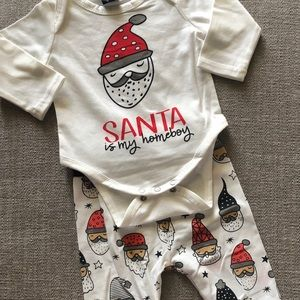 Santa is my Homeboy Baby Onesie- Christmas Outfit-